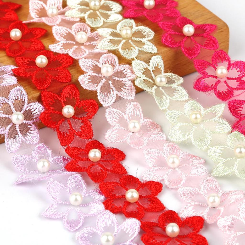 Flower Embroidered Trim Lace Ribbon DIY Hollow Wedding Sewing Appliqu Craft U9N6