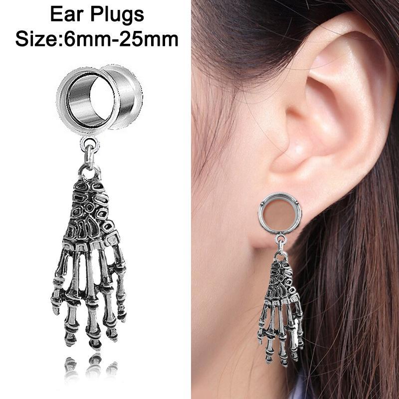 1 Pair 6-25mm Stainless Steel Piercing Tunnel Big Round  Ear Gauges Flesh Plugs