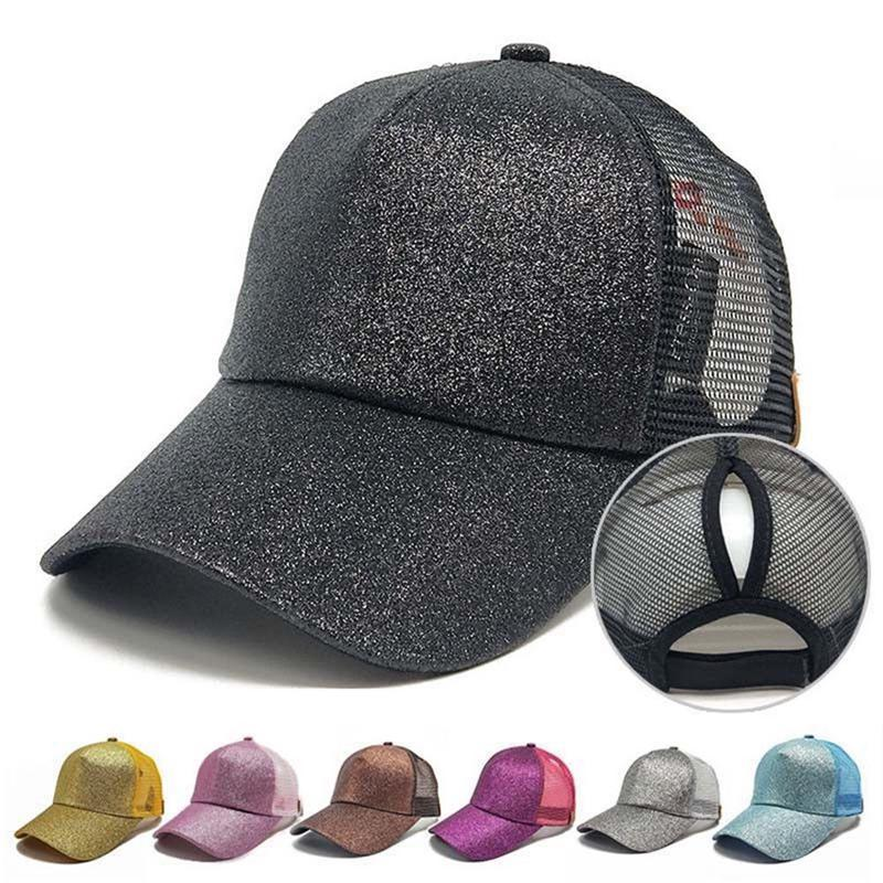 Apparel Accessories Women Ponytail Baseball Cap Sequins Shiny Mesh Bun Bling Snapback Hat Sun Caps Adjustable Fashion Summer 2018 Fine Quality