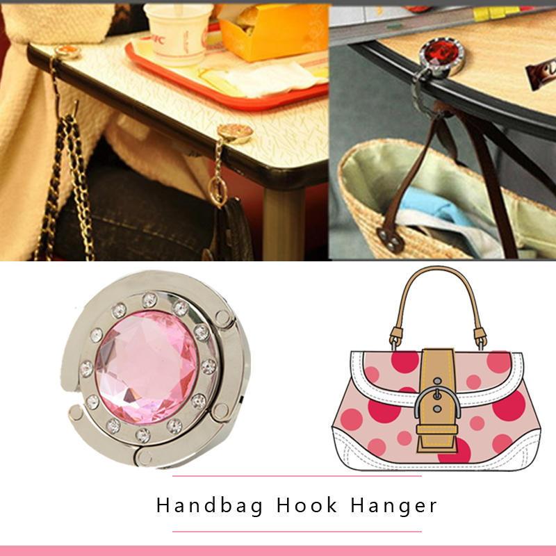 Hot Peacock Pattern Foldable Handbag Purse Umbrella Table Hanger Hook Holder