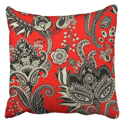 SALE Red Block Print Indian Cotton Cushion Cover Flower Floral Design 45 x 45 cm