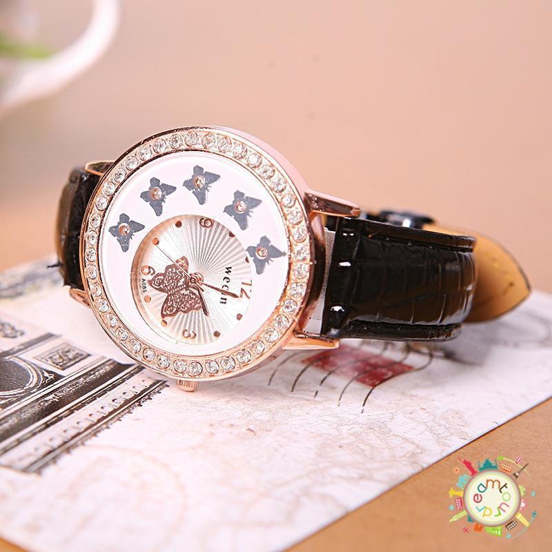 b4400bcb6f95 Nueva moda mujer mariposa patrón cristal PU cuero banda de cuarzo ...