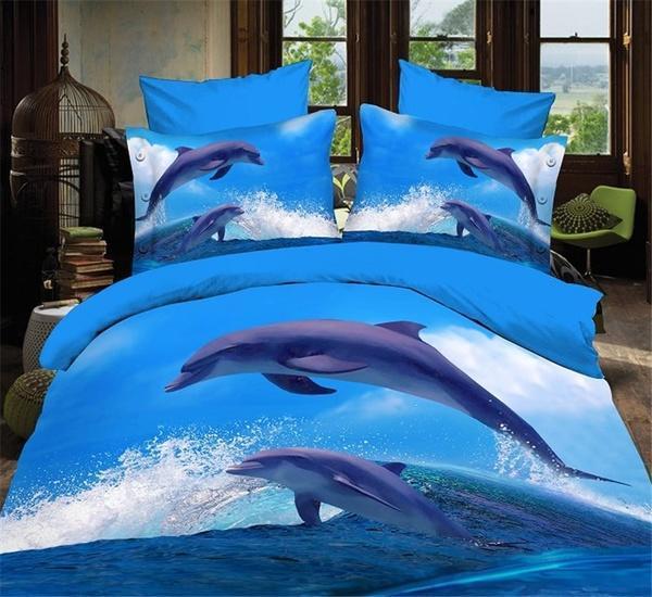 Funda Nordica Delfines.Delfines 3d Moda Ropa De Cama Set 4pcs Edredon Cubre Edredon Sabanas Conjuntos Queen Size