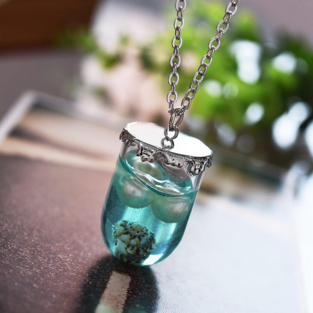 Sommer Stil Kapsel geprägt Kleber Perlmuscheln Glas Flasche Anhänger Kette Halsketten Frauen Schmuck