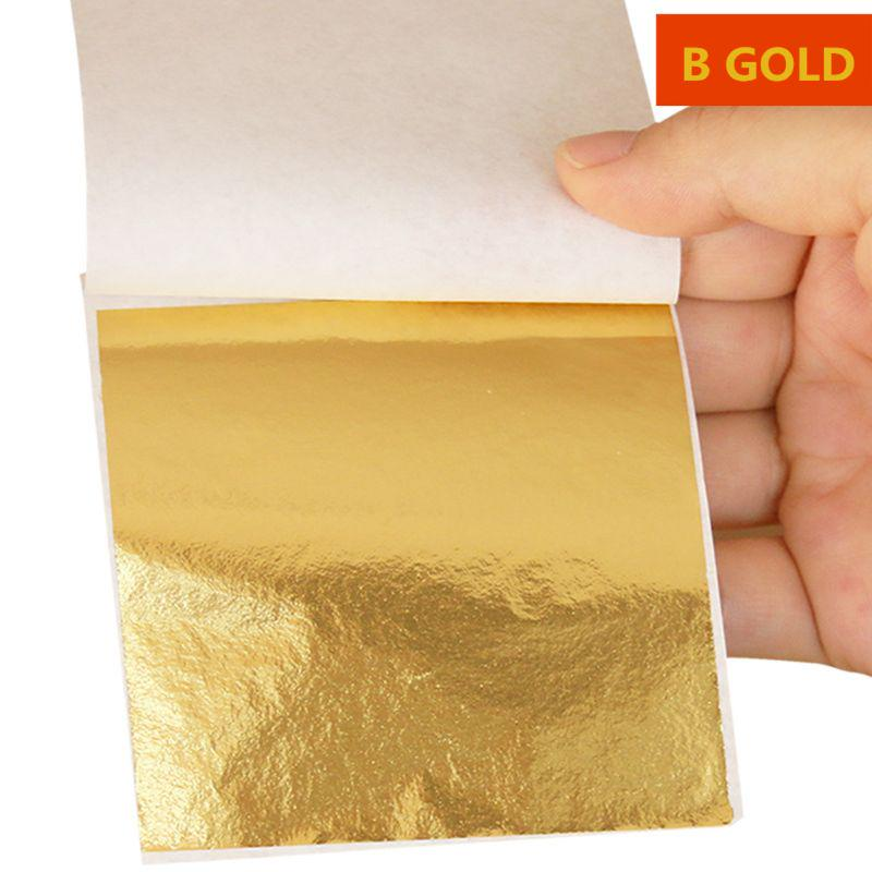 500pcs Gold Leaf Foil Wrapping Paper Gilding DIY Crafts Art Decor 9x9cm Gold