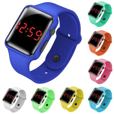 Boys Girls Square LED Electronic Watches Children Kids Casual Silicone Watch