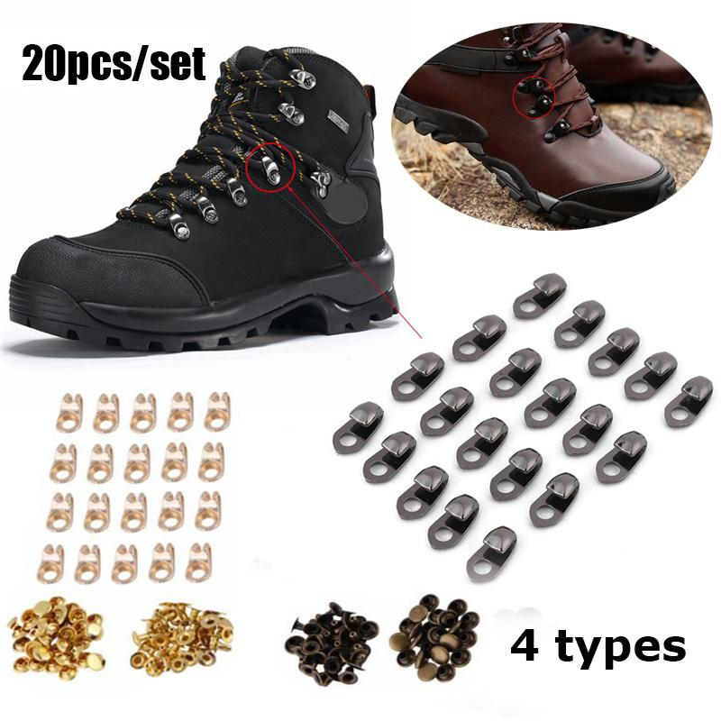 20pcs Boot Lace Hooks Lace Fittings with Rivets for Most Brand Hiking Shoes