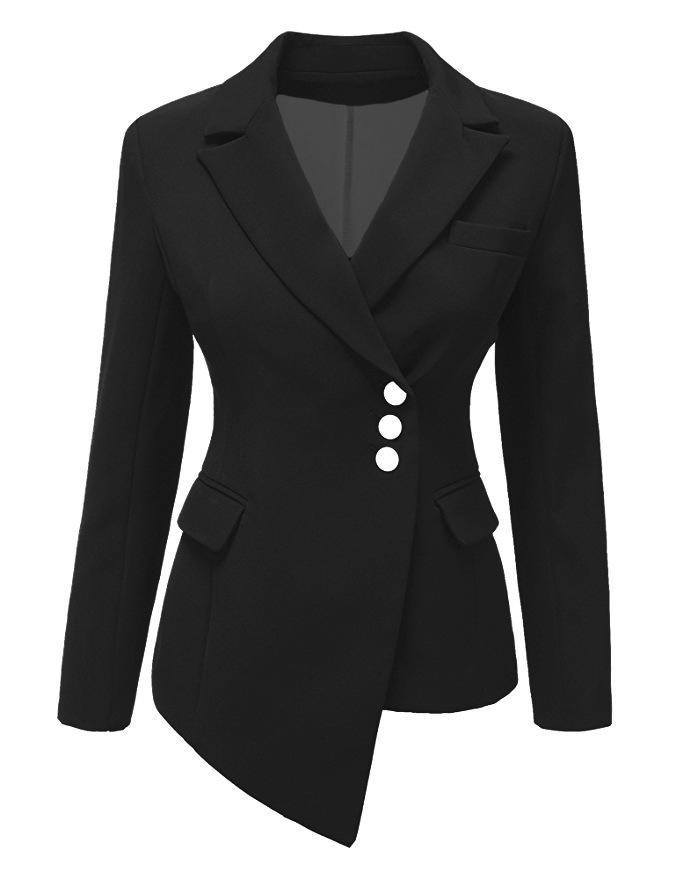 936aa9a56c5fd Winter Women Nieregularne guziki Moda Solidny długi garnitur urzędu ...