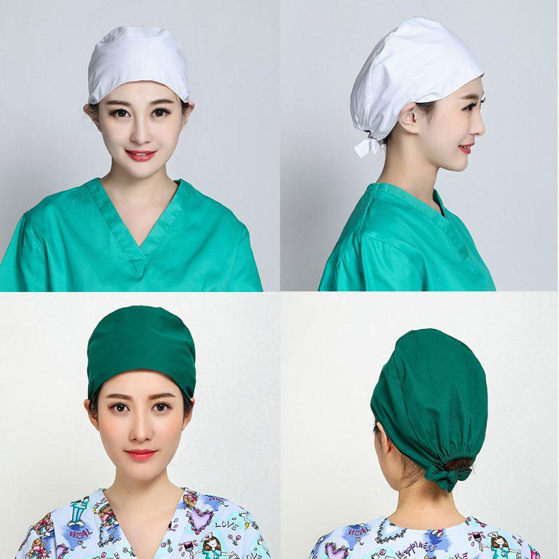 Adjustable Surgical Scrub Cap Printed Doctor Bouffant Hat Sweatband Working Cap for Doctor Nurse Blue