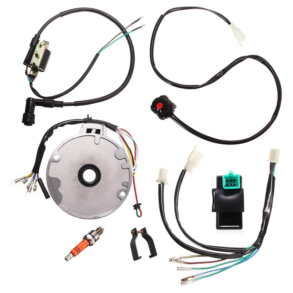 Shoze Wiring Loom Off Switch Coil CDI Spark Plug Kit For 110cc 125cc 140cc Pit Bikes