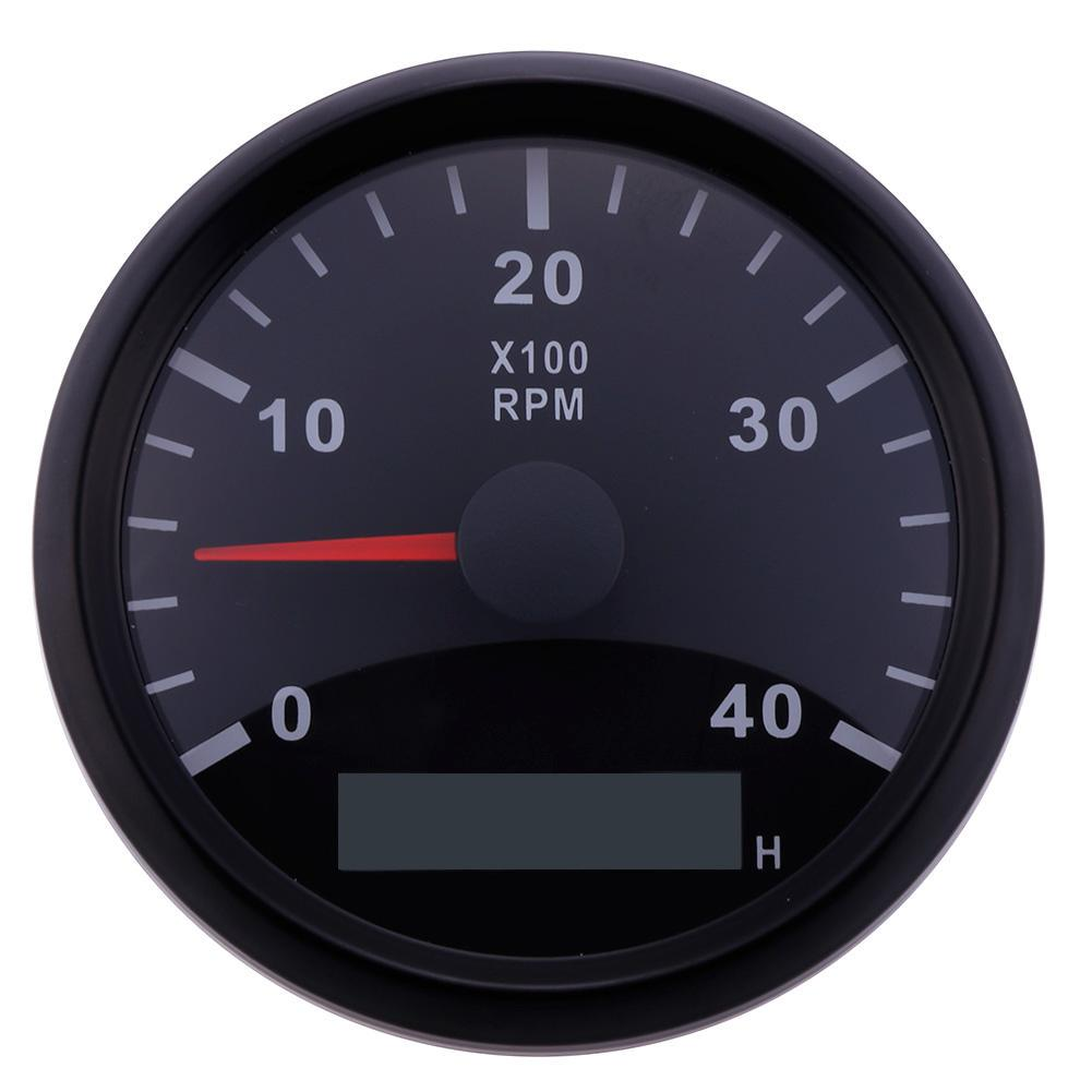 Red Backlight Car Marine RPM Tachometer Gauge WEMA LCD Tacho Hour Meter 12//24V