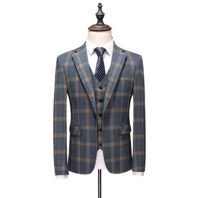 123148804 Plaid Lapel Men Suit Tailor Groom Tuxedos Wedding 3 Piece Suits Best Man  Blazer Jacket+Pants+Vest