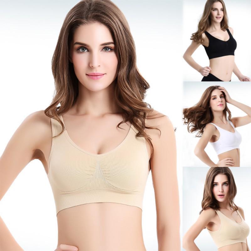 Women Ice Silk Seamless Push Up Sports Bra Fitness Yoga Vest Crop Tops Underwear
