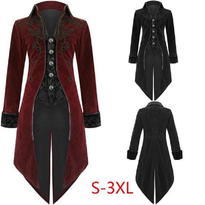 Women Steampunk Gothic Long Velvet Medieval Jacket Vintage Lapel Coat