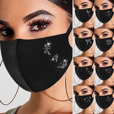 [AC] 1PC Women's Fashionable Hot Diamond Printing Mask