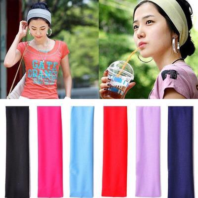Women Girls Wide Yoga Sports Headband Stretch Hairband Elastic Hair Band Head Wrap Turban