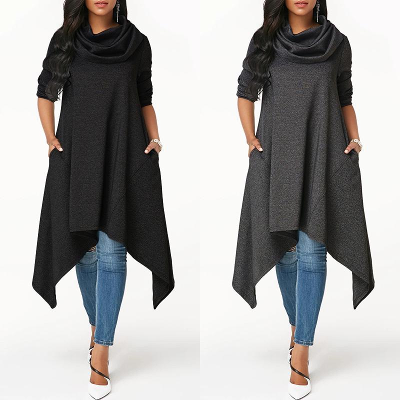 ЗАНЗЕА Осень Женщины Мода Корова шеи асимметричный Long Blouse Случайный Pullover Loose Sweatshirts