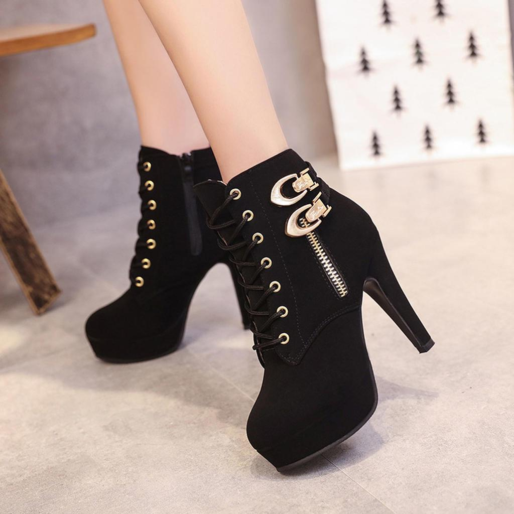 Women Lace Up High Heels Ankle Boots