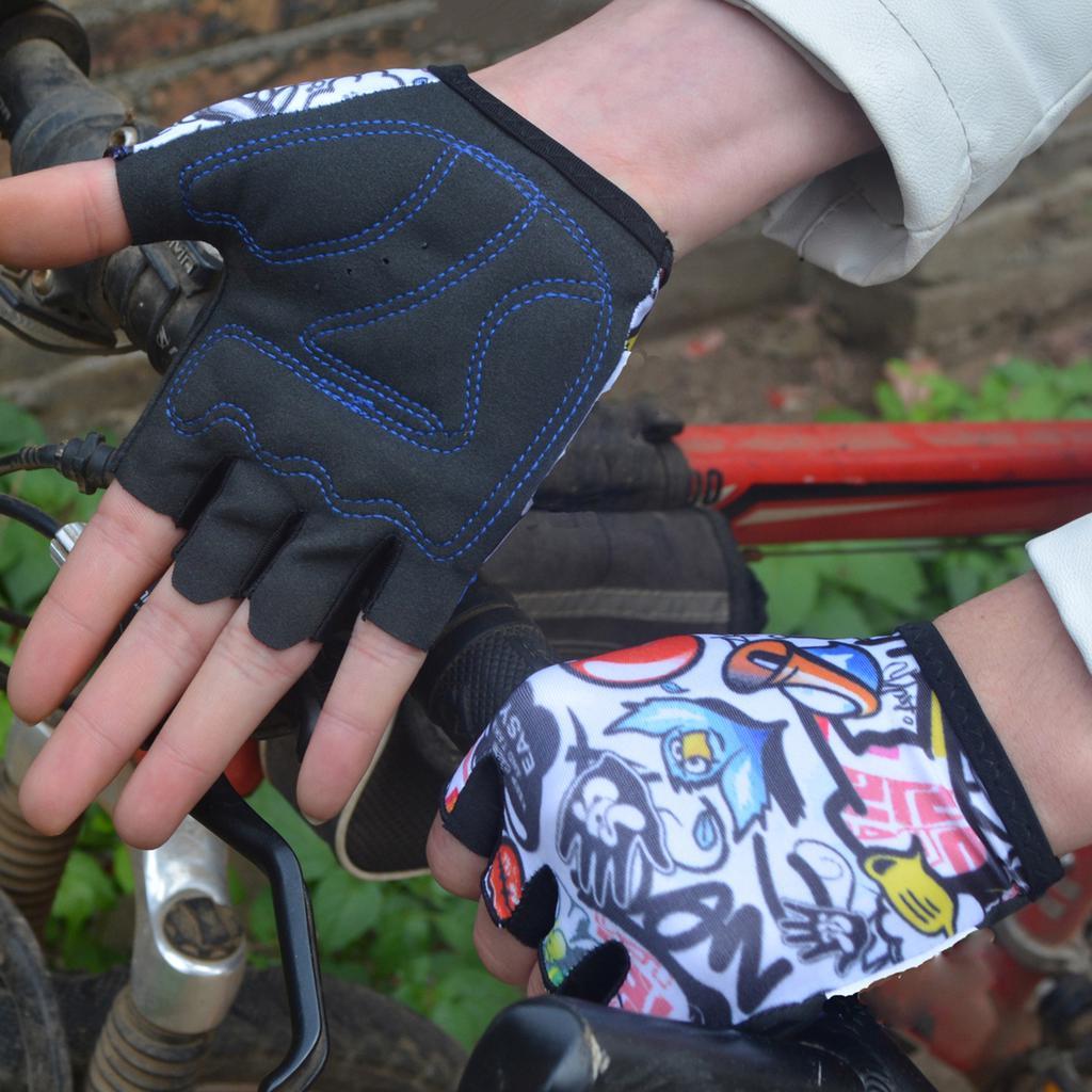 2 Pairs Kids Children Bike Cycling Scooter Anti Slip Full Finger Gloves M