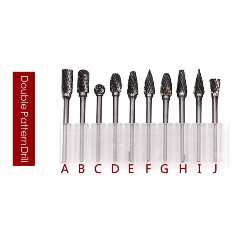 """6mm Head Tungsten Carbide Rotary Point Burr Die Grinder Bit Set 1//8/"""" Shank 10Pcs"""