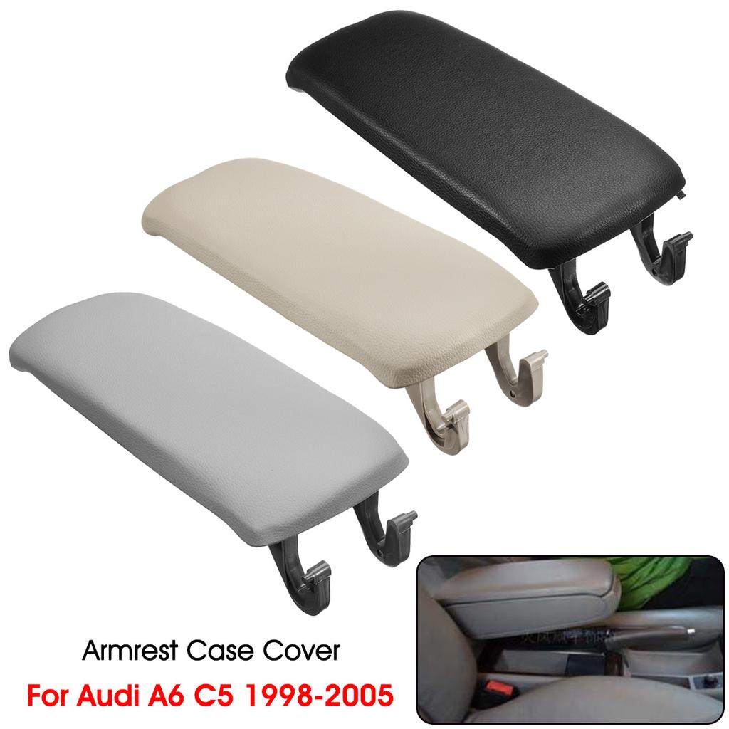 For Audi A4 S4 B6 A6 C5 00-06 Black Leather Armrest Center Console Lid Cover US