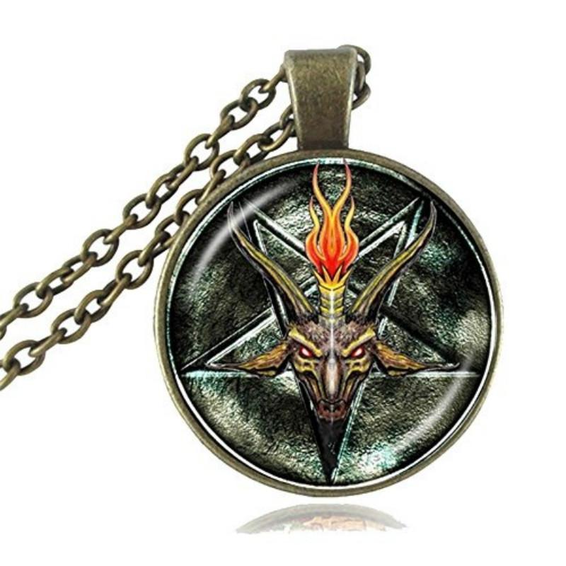 gothic satanism baphomet Necklace satanic inverted pentacle satan goth devil occult