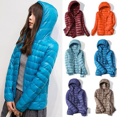 Women Warm Windproof 90% White Duck Down Jacket Coat Hooded Winter Autumn Casual