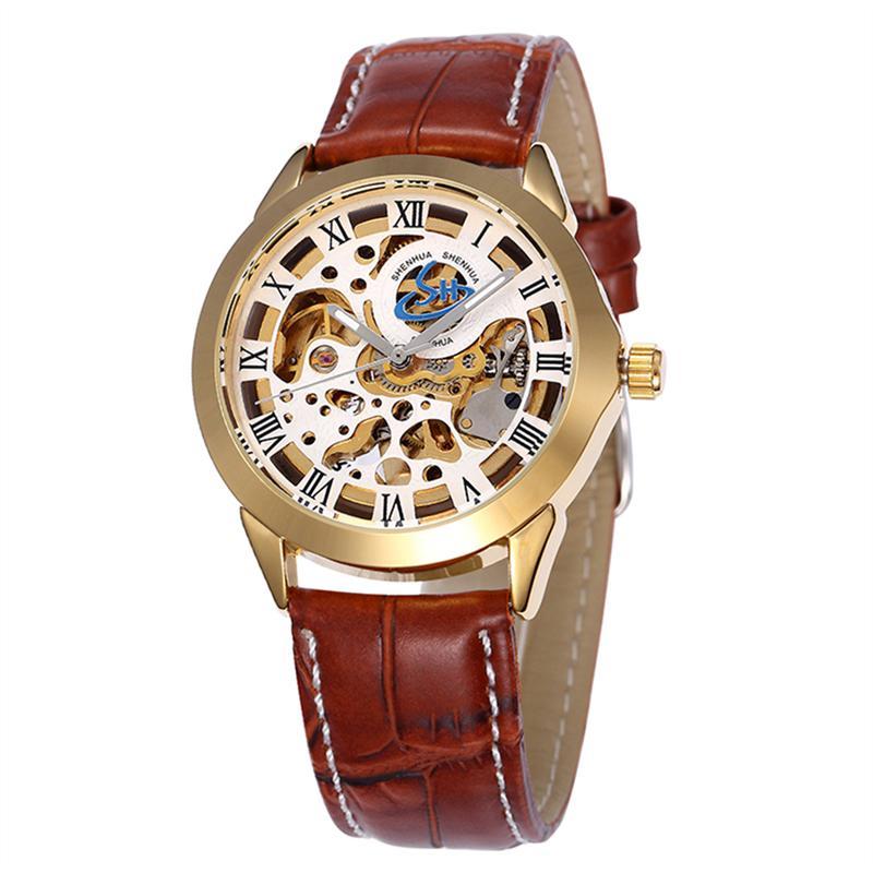 9460a6fcbd2 Relógio de pulso mecânico automático de estilo oco de homens com ...