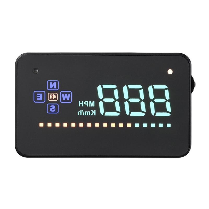 AUTOOL Car GPS HUD Digital Speedometer Speed Alarm Computer Display Solar Charge