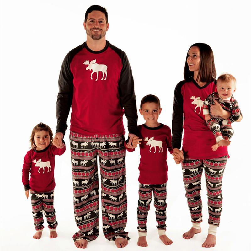 18c0bc0756 Moda Navidad familia pijamas Juego Set venado adultas padres niños ...
