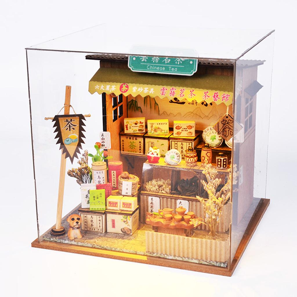 1//24 DIY Miniature Dollhouse Kits Antique Chinese Teahouse with Vintage