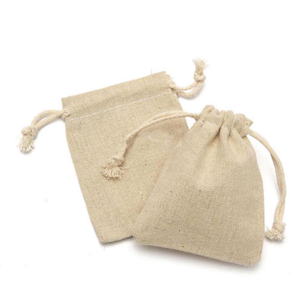 10pcs toile de lin avec cordon de serrage jute Sack Sac Pochette Mariage Favor Bijoux Cadeau