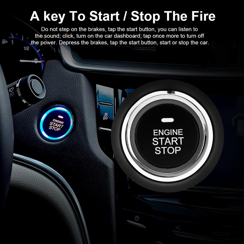 Universal Car Ignition Engine Start Push Button Remote Starter Vibration Alarm