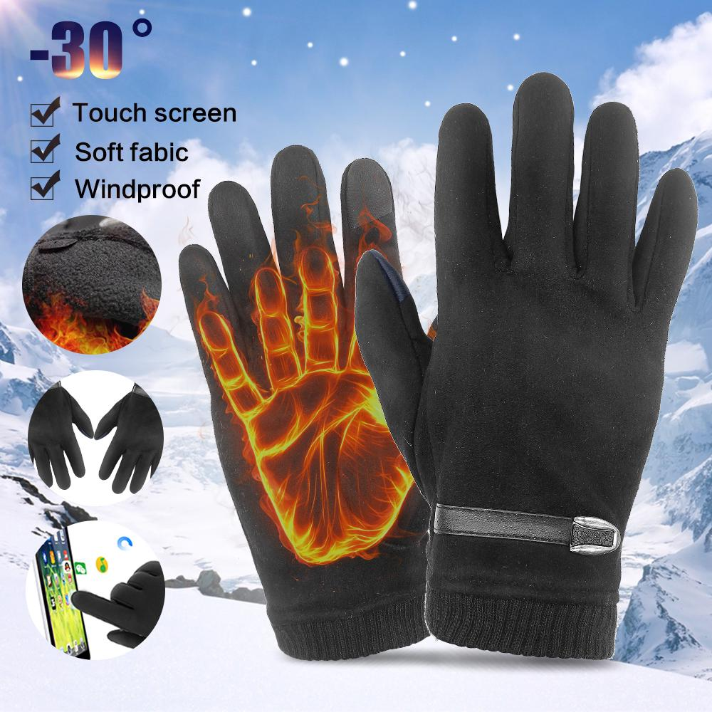 Outdoor Mens Fleece Lined Thermal Knitted Gloves Touchscreen Winter Warm Mittens