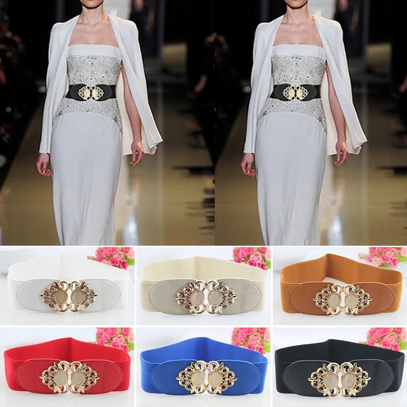 Womens Metal Diamond Adjustable Wide Stretch Elastic Waist Belt Corset Waistband
