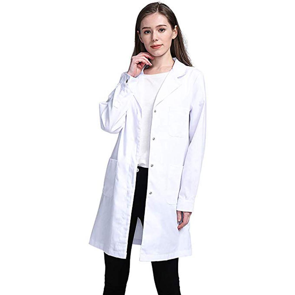 Woman Lab Coat Medical White Classic Stylish Nurse Scrubs Doctor Gown Jacket New
