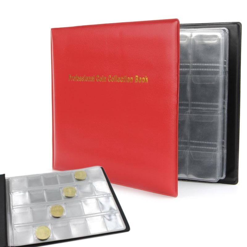 36 Coin Display Grid Holder Coin Money Penny Album Book Pockets Dark Red