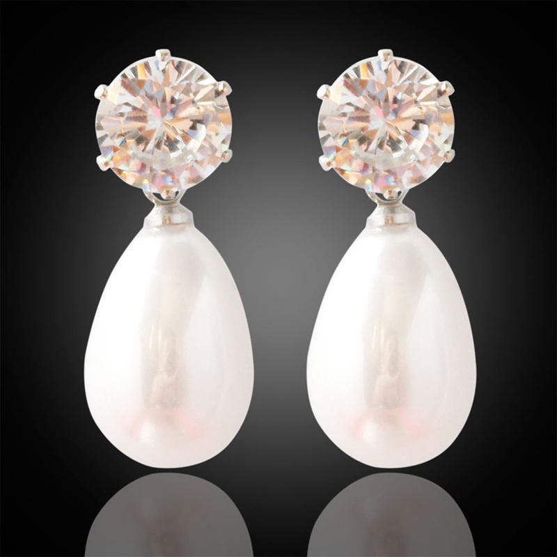 Женщины моды простой Diamond Drop кулон серьги подарки фото