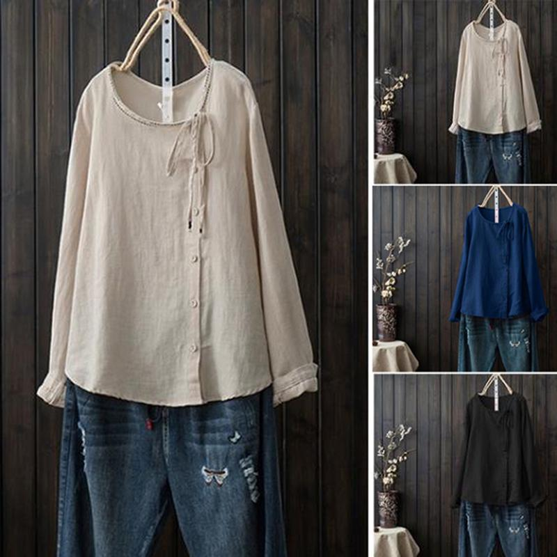 ZANZEA Women Crew Neck Lace-up Ruffled Tops Shirt Casual Loose Blouse T-shirts