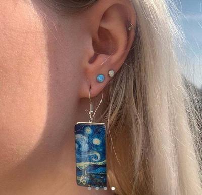 Art Style Van Gogh Painted Starry Sky Time Women Earrings Earring Party Gift