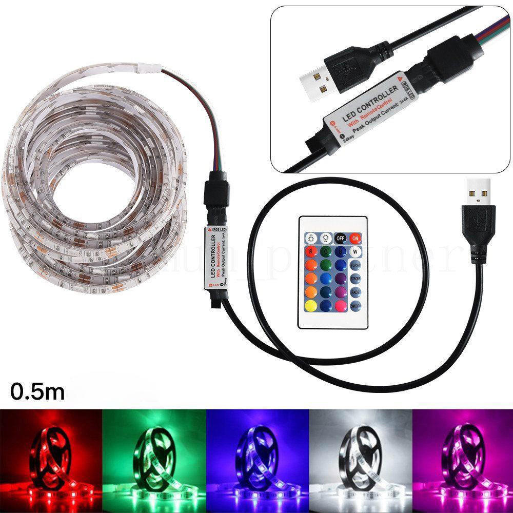 5V 100-500CM USB LED STRIP LIGHTS TV BACK RGB COLOUR CHANGING REMOTE CONTROL