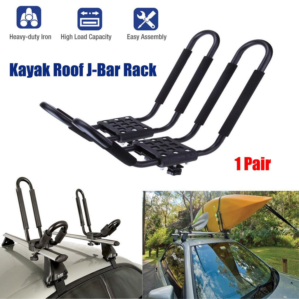 1 Pair Universal Roof J-Bar Rack Kayak Boat Canoe Car SUV Top Mount Anti-theft