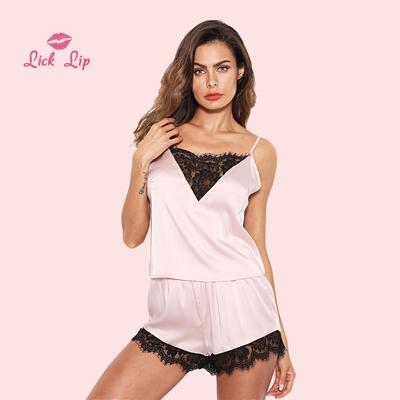 e9c6884d0a73 Pink Women Pajama Set Lace Patchwork Sexy V Neck Pajamas Suit Spring Silk  Sleepwear Shorts