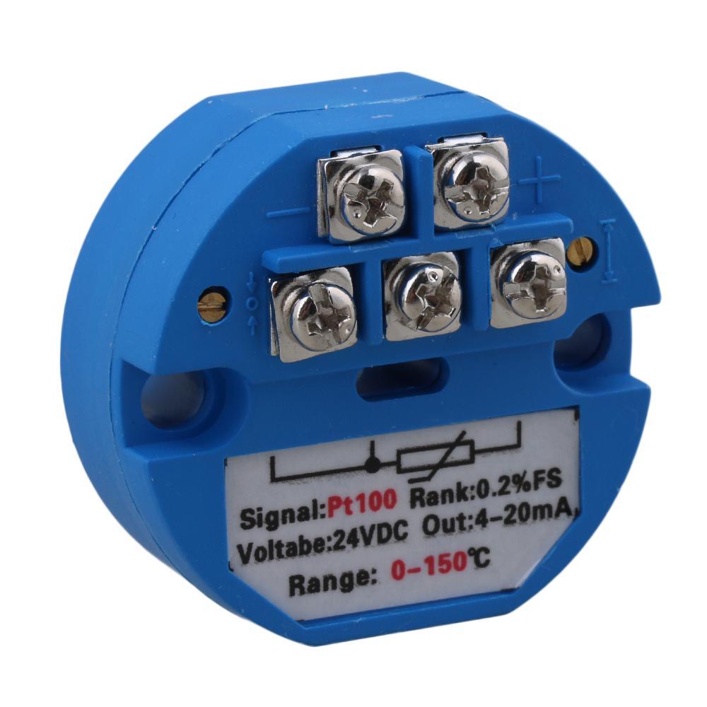 Plastic Blue K Type Temperature Sensor Transmitter 4-20mA Output 24VDC