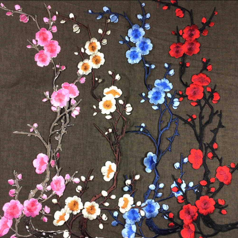 Beautiful Embroidered Plum Blossom Flower Patch Sew//Iron on Applique Motif Craft