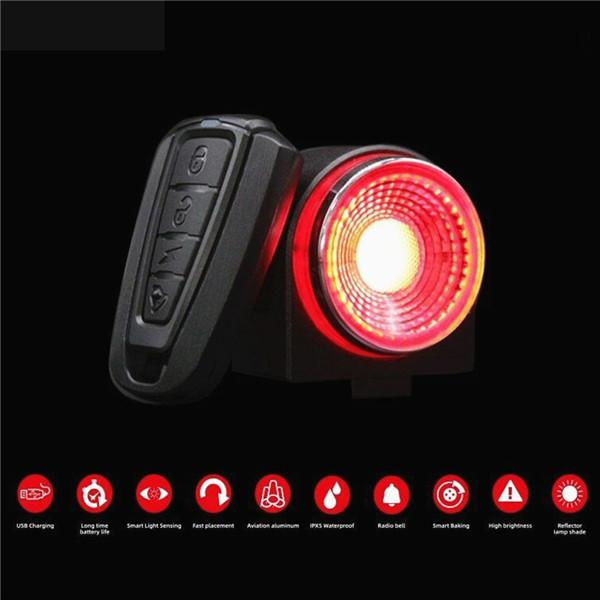 USB Rechargeable Bicycle Tail Light Anti-theft Alarm Safety Warning Light