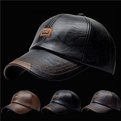 Sports PU Leather Men's Baseball Caps Anti-UV Fishing Winter Adjustable Breathable Outdoor Sun Protection Windproof