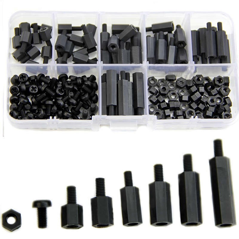 M3 180Pcs Nylon Noir Entretoises Vis Écrous Hex M-F STAND OFF Assorted Kit Box RC
