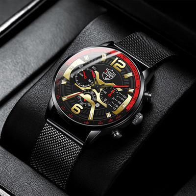 Fashion Men's Watches Stainless Steel Mesh Belt Black Quartz  Watch Men Luxury Business Analog Wrist Watches Mens Clock Uhren Herren