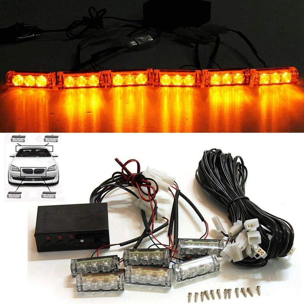 4x22 Led Flashing Beacon Lightbar Lights Truck Van Car White 12V Recovery Strobe